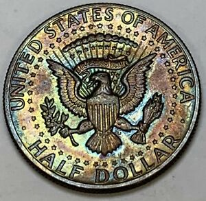 1971-P KENNEDY HALF DOLLAR STRIKING GEM UNC COLOR BU NEON ORANGE GREEN (DR)