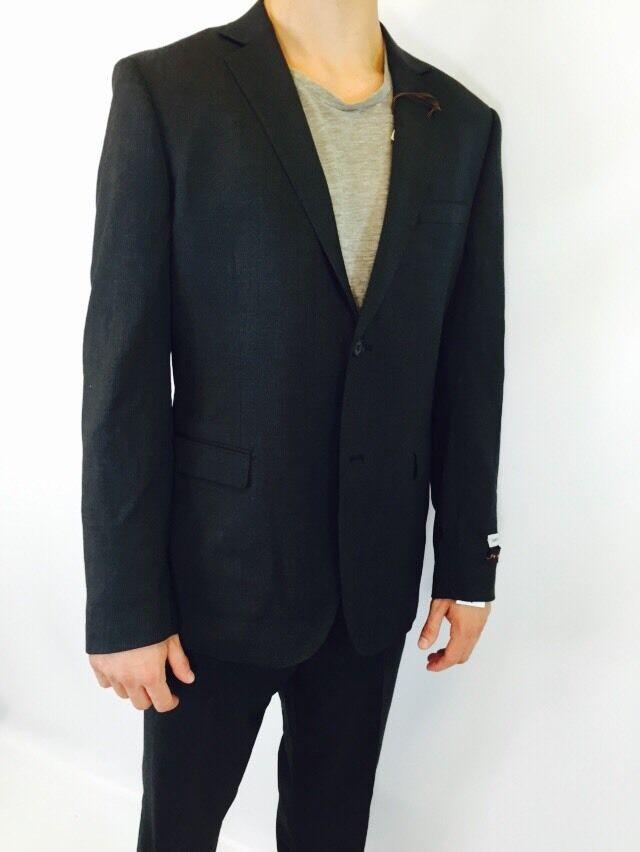 James Campbell Men's Slim Fit Men's Suit Dark Grey Size 42R