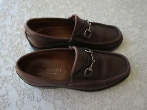 cab9f45b04b Gucci shoes leather 6 1 2 B loafers horsebit brown vintage 014875 ...