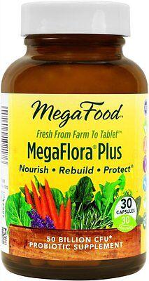 MegaFlora Plus Probiotic by MegaFood, 30 Capsules 50 Billion CFU