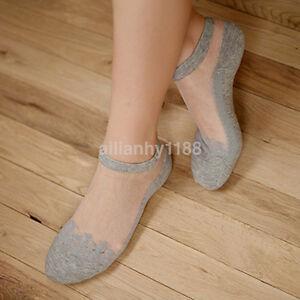 Fashion Women Ultrathin Transparent Crystal Silk Lace Elastic Short Ankle Socks