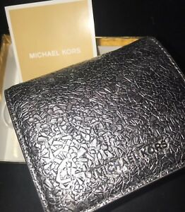 5f1cd61920c765 Michael Kors Money Pieces Flap Card Holder Wallet Embossed Leather ...
