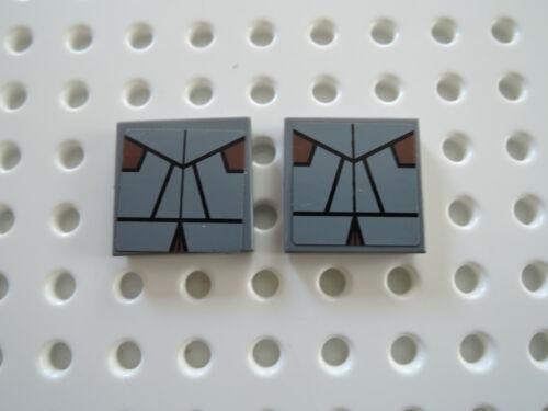 Lego 2 x Fliese 3068bpb0595 neu dunkelgrau 2x2  Sticker SW 7957