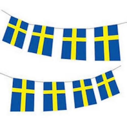 Massive 33ft Sweden Swedish Sverige Flag Party Bunting