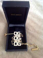 Authentic DOLCE & GABBANA placcato oro e diamante rotondo collare Collana