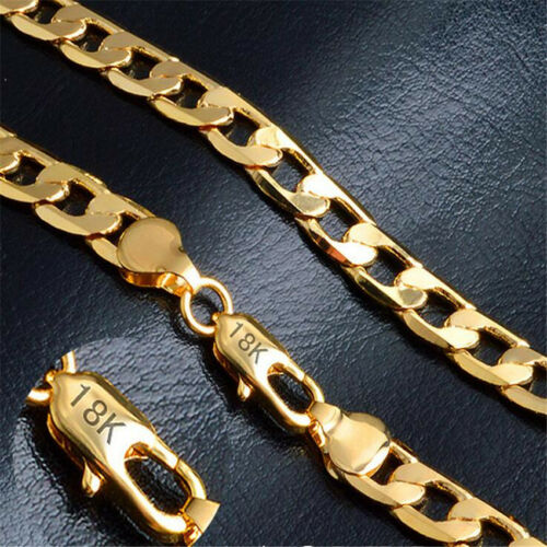 18K Gold Plated Rope Chain Necklace WARRANTY 4 MM Through 10 MM Widths