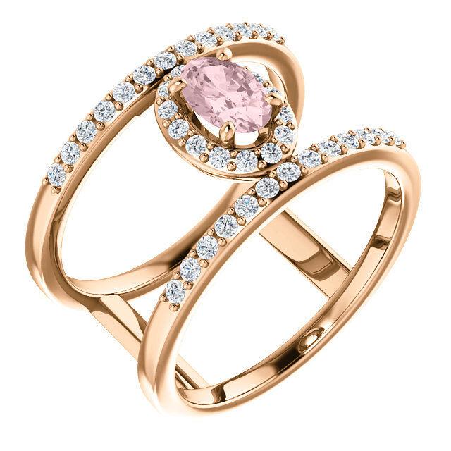 dbd5d97807d14a Morganite 1 3 CTW Diamond Negative Space Ring In pink gold & 14K  qvjjkp934-Gemstone