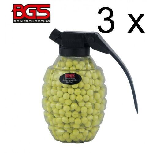 3 X BGS Softair Kugeln BBS 6 mm 0,12g Granate 800 0,12 g 6 mm Gesamt 2400 Stück