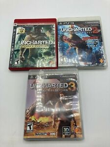 Sony-PlayStation-3-PS3-Tested-Uncharted-Trilogy-1-2-3-LOT-Cased-Boxed