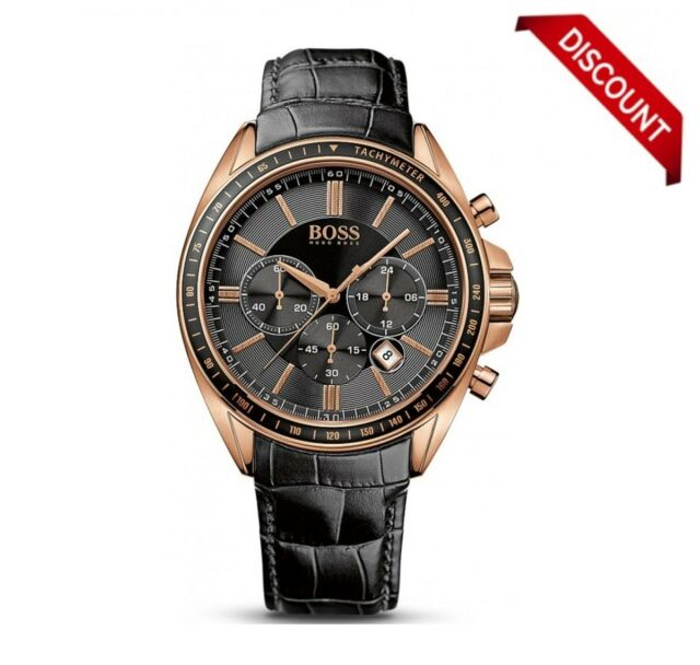 35158ce1d0c5 BRAND NEW 1513092 HUGO BOSS ROSE GOLD LEATHER STRAP DRIVER SPORTS MEN S  WATCH UK