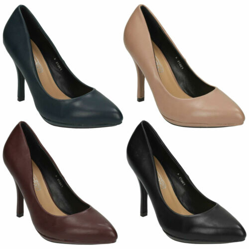 LADIES F9675 POINTED TOE STILETTO HIGH HEEL SMART FORMAL COURT SHOES SPOT ON