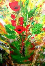 REGENBOGEN-ART *Ikebana* Acryl Orig. Kunst Kilgert 30x40