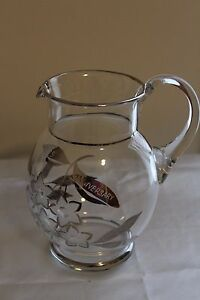Vintage-Bohemia-Crystal-Czech-Pitcher-Etched-Glass-w-Silver-25th-Anniversary