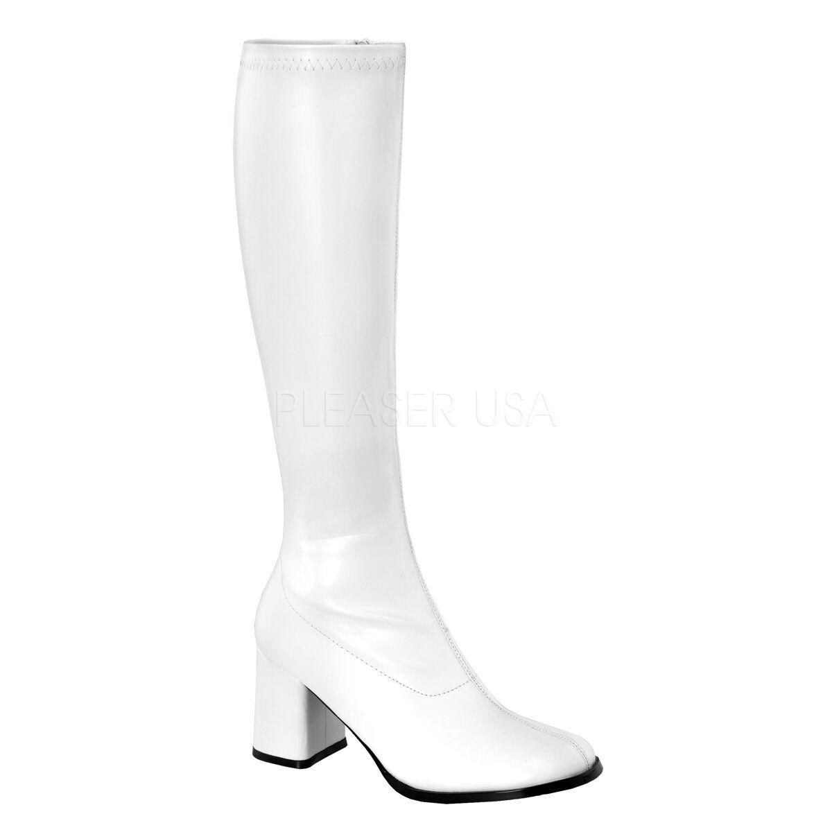 PLEASER FUNTASMA GOGO-300 blanc PU STRETCH 70'S DISCO KNEE HIGH bottes