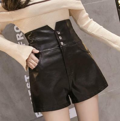 Hot New Womens Ladies PU Washed Leather Shorts Low Waist Straight Hot Shorts Sz