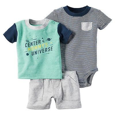 New Carter/'s 3 Piece Space Theme Top Bodysuit Short Set NWT NB 3m 6m 9m 12m