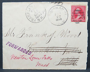 US-Cover-1892-Franklin-Falls-Forwarde-Stamp-Newton-Falls-2c-Letter-Lot-8978