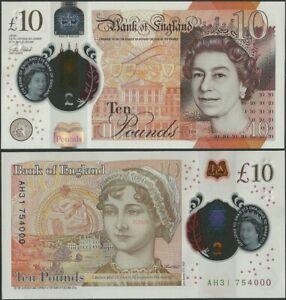 Great Britain/England P395 10 Pounds 2016 Polymer/JaneAusten/QEII AH Prefix