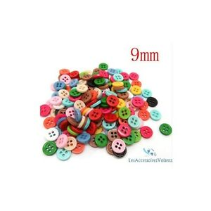 lot-de-50-bouton-scrapbooking-4-trou-unis-multi-couleurs-mercerie-couture-9-mm