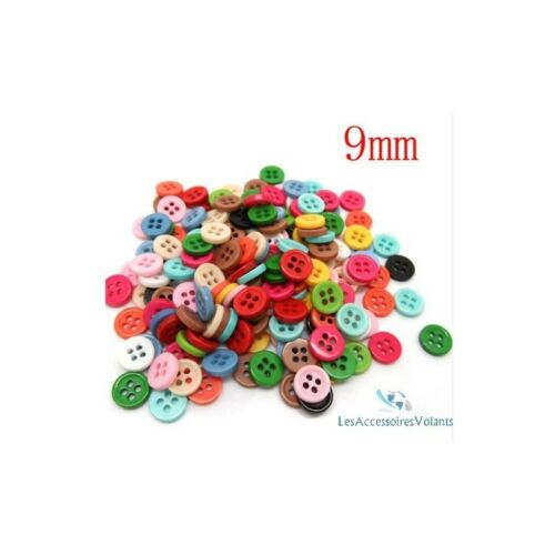 lot de 50 bouton scrapbooking 4 trou unis multi-couleurs mercerie couture 9 mm