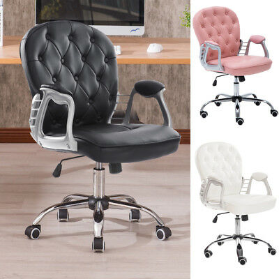 Swivel Office Chair Adjustable Tufted, White Computer Chairs Uk