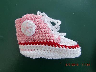 Babyschuhe (Chucks) selbst gehäkelt, rosa,100% Baumwolle