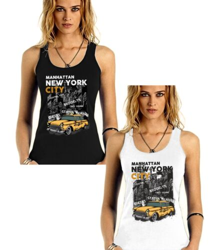 Velocitee femmes débardeur new york jaune taxi usa retro city scene V81