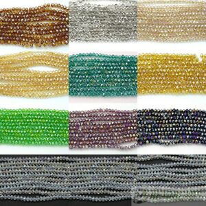 100-Czech-Crystal-2mm-x-3mm-Faceted-Rondelle-Loose-Beads-Bracelet-Necklace-Craft