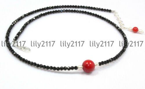 "3 mm naturel Facette Noir Spinelle /& 10 mm corail rouge ronde Gems collier 18-28/"" AA"