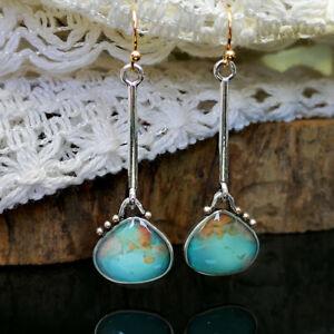 Handmade-925-Silver-Turquoise-Long-Earrings-Pear-Cut-Hook-Women-Wedding-Jewelry