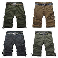NEW 100% Cotton Mens Vintage Military Army Cargo Combat Shorts Pants Trousers UK