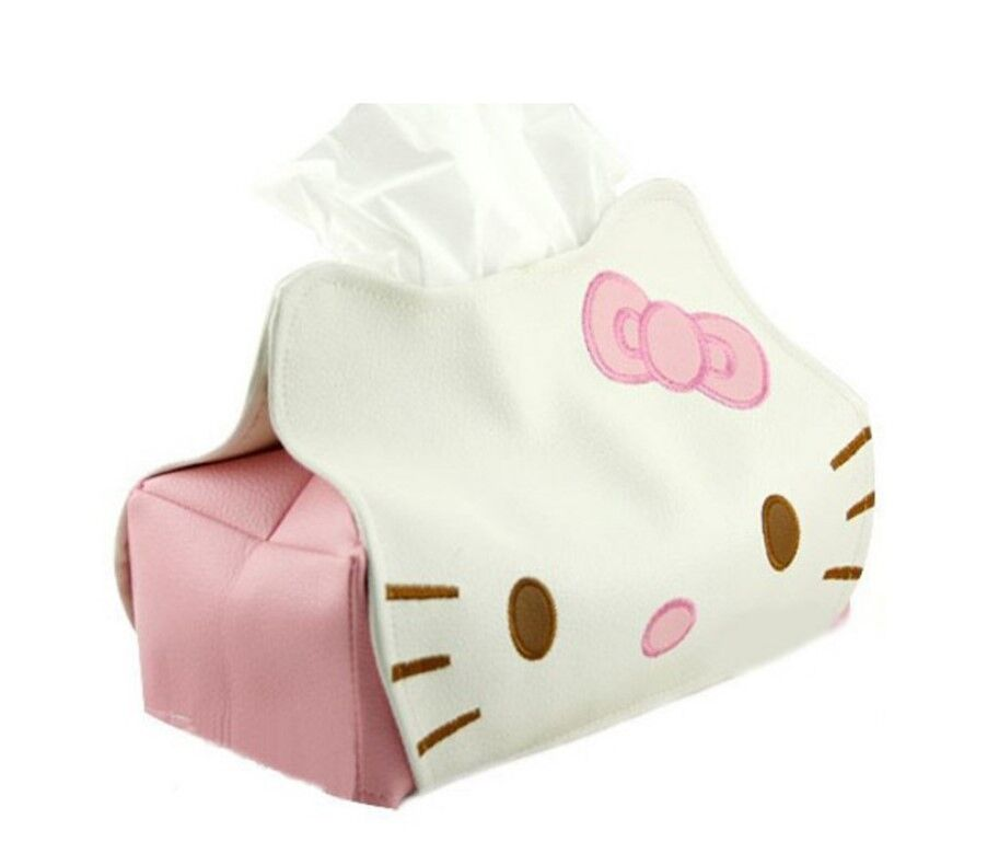 Hello Kitty Tissue Paper Box PU Leather Cover Holder Car Kitchen Home Decor New