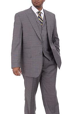 Apollo King Mens Gray Plaid Three Piece Wool Suit with Peak Lapels