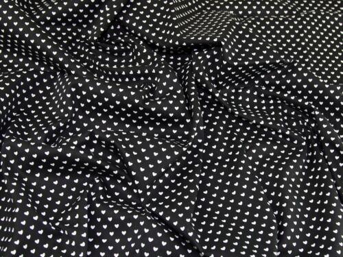 MV-M570-Black-M Repeat Heart Print Cotton Poplin Dress Fabric