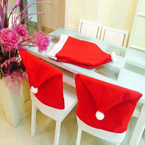 Christmas Decoration Protectors Chair Seat Cover Hat Dining Slipcovers Decorated