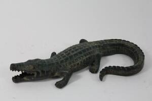 Skulptur-Figur-Bronze-Krokodil-Alligator-Antik-Stil