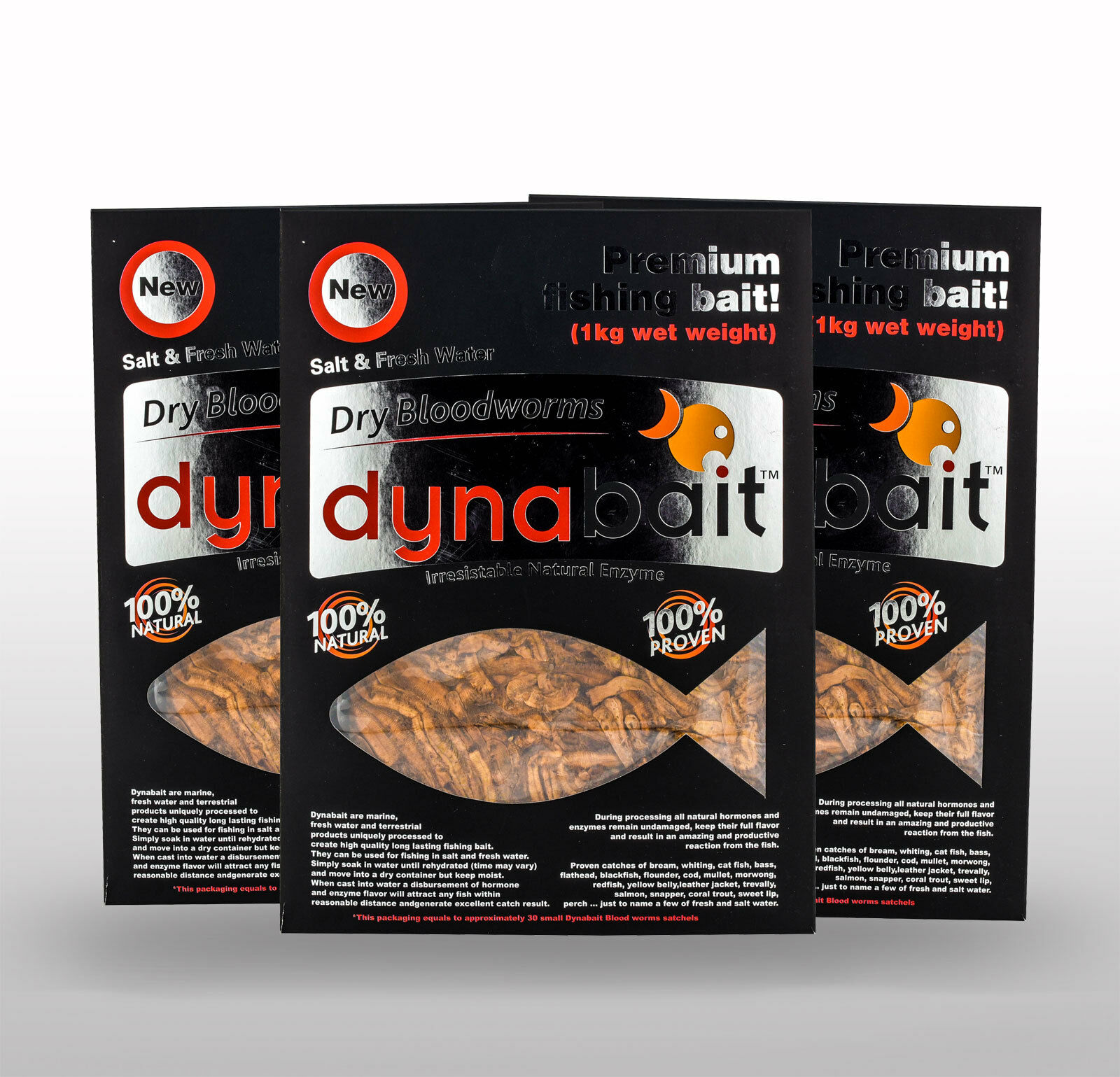 Dynabait Blood worms 3x 1Kg  live weight Beste buy, approx.90 small satchels