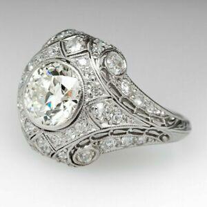 Art-Deco-2-5Ct-Round-Diamond-Wedding-Engagement-Ring-Edwardian-1837-1910-Vintage