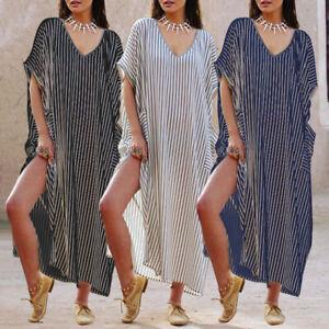 M-5XL Womens Summer Floral Short Sleeve Casual Long A-lin T-shirt Dress Kaftan