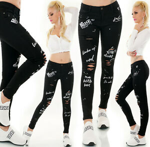 Jeans Ladies Skinny Jeans Trousers Used Look With Logo