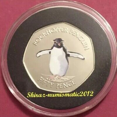 SALE FALKLAND ISLANDS 50 PENCE NORTHERN ROCKHOPPER PENGUIN ERROR COIN W//COA 2017