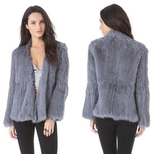 Warm Coat Jacket Capo pelliccia Ladies 100 Slim Knit Genuine vera D2 Womens Outwear aw6qZvHZ