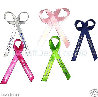 """100 Personalized Ribbons 1/4"""" or 3/8"""" Wedding Birthday Party Baby Shower Favor"""