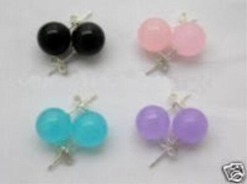 4 paire 10 Mm Noir Agate Rose Bleu Violet Jade boucles d/'oreilles