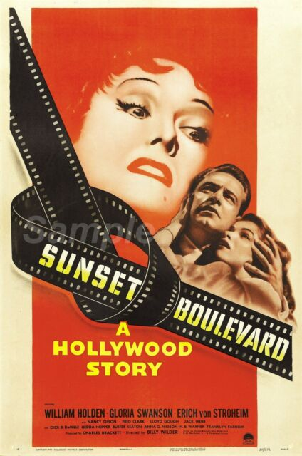 VINTAGE SUNSET BOULEVARD HOLLYWOOD STORY MOVIE POSTER A3 stampa ...