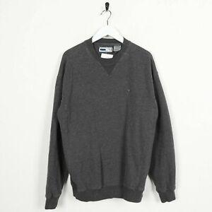 Vintage-FILA-Small-Logo-Sweatshirt-Jumper-Dark-Grey-Large-L