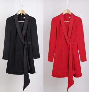 COAST-NEW-Black-amp-Red-Long-Sleeve-Tux-Wrap-Dress-Sizes-6-to-18