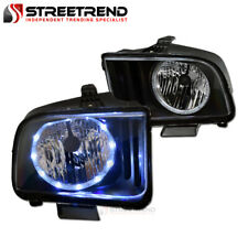 For 2005 2009 Ford Mustang Black Housing Led Halo Headlights Headlamps Pair Fits Mustang