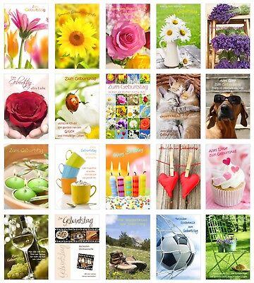 12 verschiedene Motive Geburtstagskarten Glückwünsch einzeln verpackt Umschlag