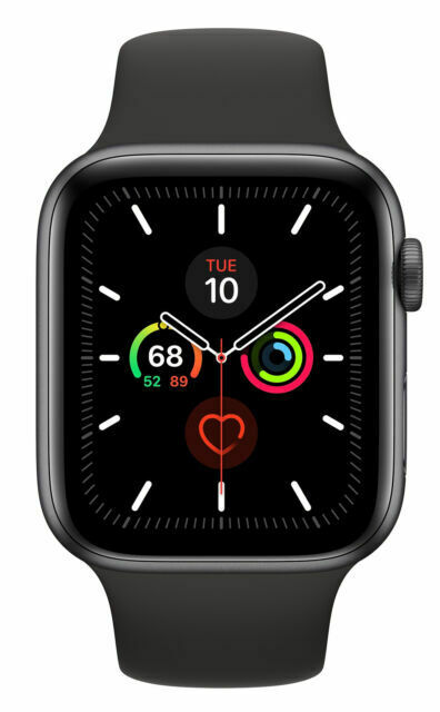 Apple Watch Series 5 44mm Space Gray Aluminium Case With Black Sport Band S M M L Gps Cellular Mww12ll A For Sale Online Ebay